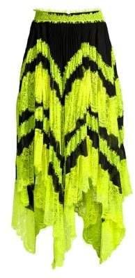 Alice + Olivia Women's Katz Sunburst Asymmetric Lace Midi Skirt - Black Neon Yellow - Size 0