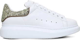 Alexander Mcqueen Glitter-trimmed leather oversized trainers $380 thestylecure.com