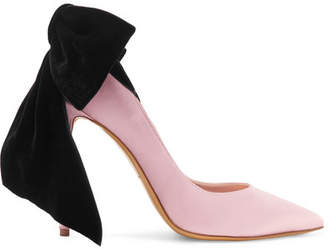 Alexandre Vauthier Bowdown Bow-embellished Velvet And Satin Pumps - Blush