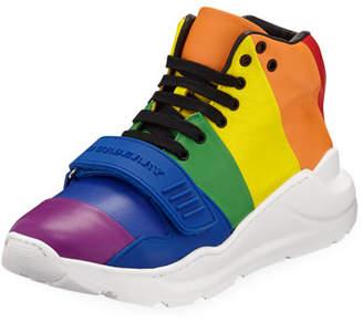 Burberry Regis Rainbow Stripe High-Top Sneakers