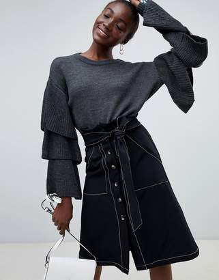 Pieces Sweater With Ruffle Sleeve