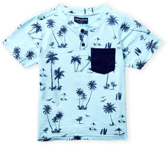 Andy & Evan Boys 4-7) Palm Print Short Sleeve Henley