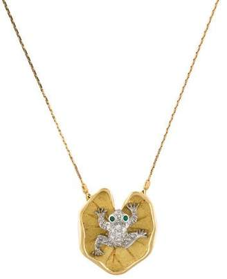 McTeigue & McClelland Diamond & Emerald Frog Pendant Necklace