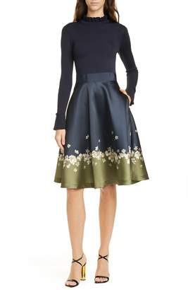 Ted Baker Pearl Mixed Media Long Sleeve Fit & Flare Dress