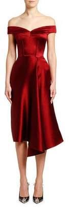 Alexander McQueen Off-the-Shoulder Draped Duchess Satin Dress