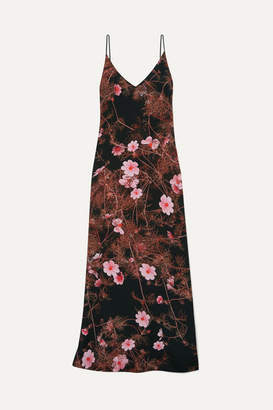Dries Van Noten Floral-print Silk Crepe De Chine Maxi Dress - Black