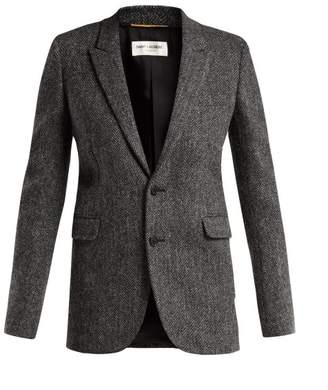 Saint Laurent Herringbone Wool Tweed Blazer - Womens - Grey White