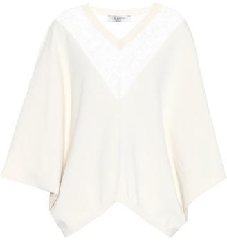 Valentino Lace-trimmed poncho