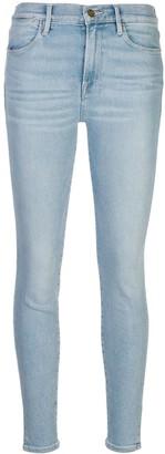 Frame Le High Skinny Crop Slit Rivet jeans
