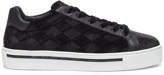Rene Caovilla Strass diamond quilted velvet flatform sneakers