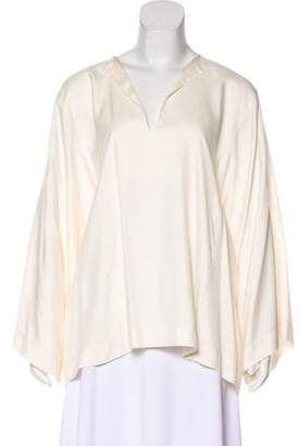 Helmut Lang Silk Long Sleeve Top