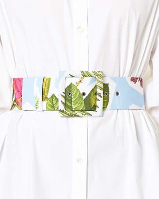 Carolina Herrera Floral Collage-Print Wide Belt