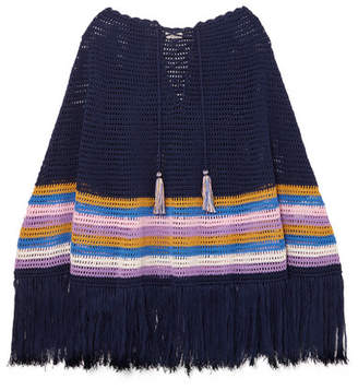 Talitha - Fringed Striped Crocheted Cotton Poncho - Navy