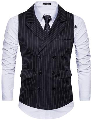 Cottory Men's Classic Stripes Slim Fit Double-Breasted Tailored Collar Suit Vest Dark Grey