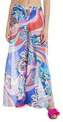 Emilio Pucci Printed Split-Leg Silk Coverup Trousers