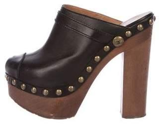 Chanel Platform Leather Clogs