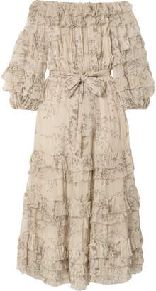 Zimmermann Unbridled Off-the-shoulder Printed Silk-chiffon Midi Dress - Beige