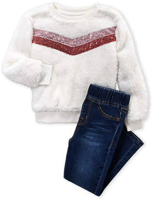 Hudson Toddler Girls) Two-Piece Sequin Stripe Sherpa Pullover & Jeans Set