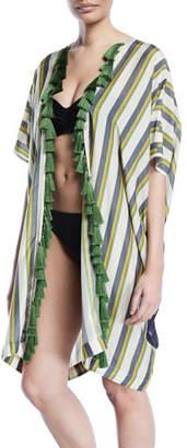 Verandah Hand-Beaded Panel-Stripe Tiger Kimono w/ Tassels