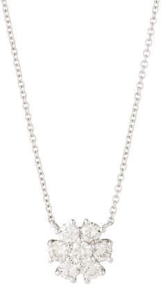 Neiman Marcus Diamonds Fiamma 18k White Gold Diamond Flower Pendant Necklace, 1.00tcw