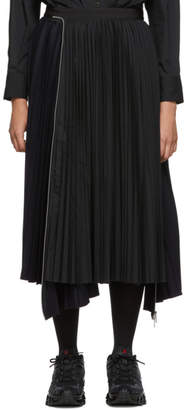 Sacai Navy and Black Melton Wool Pleated Skirt