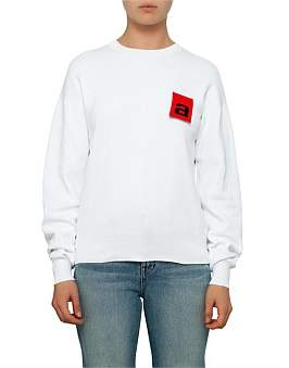 Alexander Wang Mesh Long Sleeve Pullover With Logo Flag