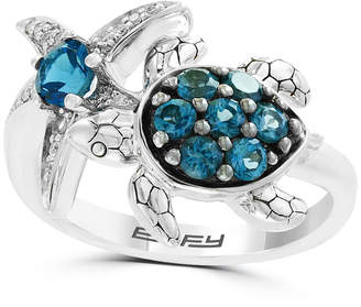 Effy Blue Topaz (1 ct.t.w.) and Diamond Accent Ring in Sterling Silver