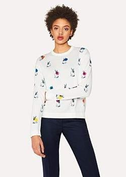 Paul Smith Women's White 'Rabbit' Print Sweater With Polka Dots