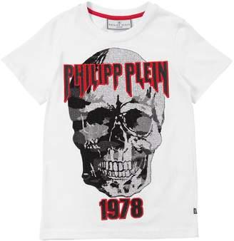 Skull Embellished Cotton Jersey T-Shirt