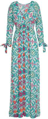 Libelula Long Stanley Dress Turquoise Geometric Print