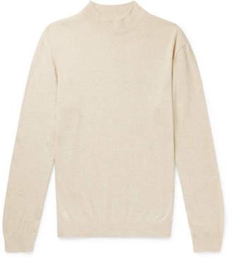 De Bonne Facture Organic Cotton And Linen-Blend Mock-Neck Sweater