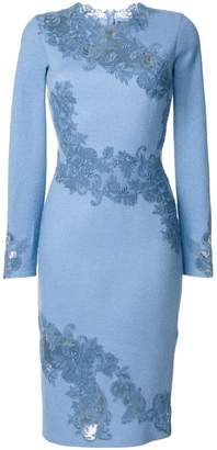 Ermanno Scervino fitted dress with embroidered floral insets