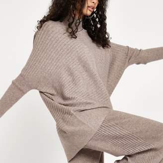 River Island Womens Beige rib knit high neck long sleeve jumper