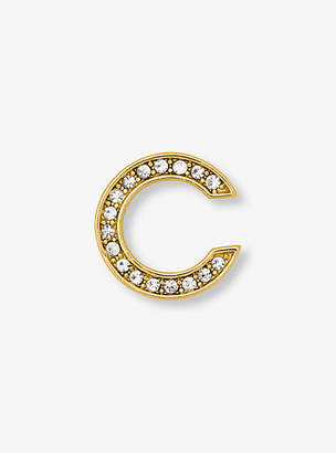 Michael Kors Pave Gold-Tone Alphabet Pin