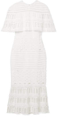 Lela Rose Fringed Crocheted Lace Midi Dress - White