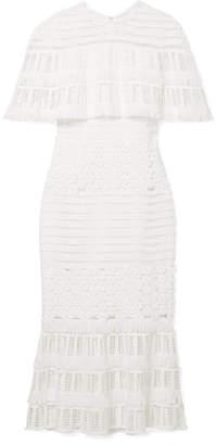 Lela Rose Fringed Crocheted Lace Midi Dress - White