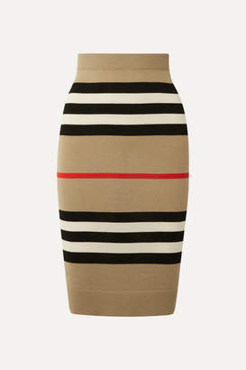 Burberry Striped Merino Wool Skirt - Beige