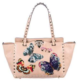 Valentino 2017 Embroidered Butterfly Rockstud Mini Tote w/ Tags