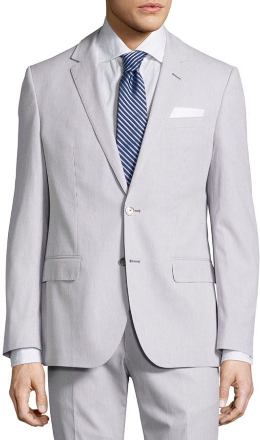 Hugo Boss Hugo Boss Hedson Pinstriped Slim-Fit Two-Piece Suit, Medium Gray