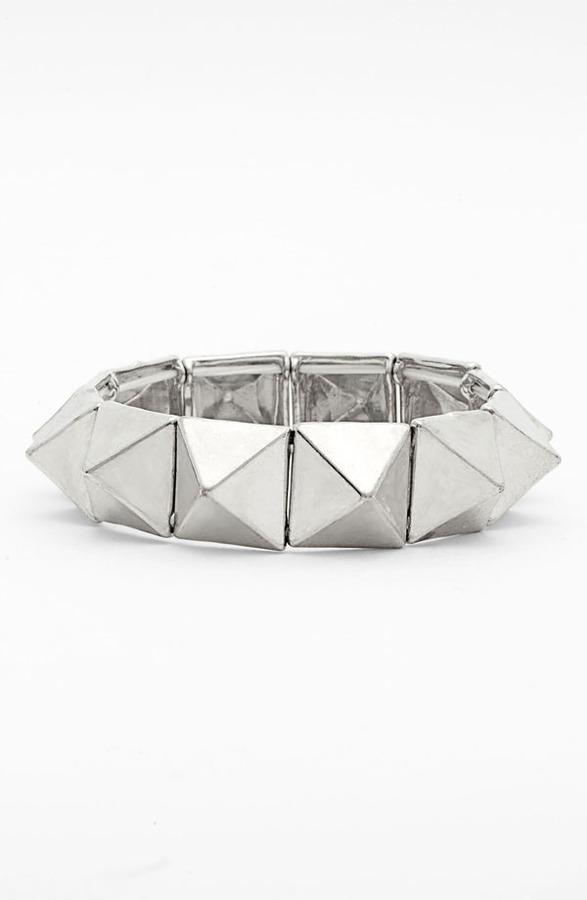 Tasha Studded Stretch Bracelet Silver