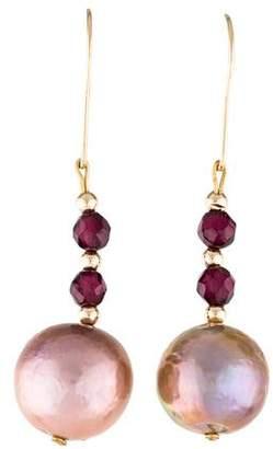 14K Pearl & Garnet Drop Earrings