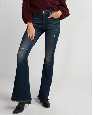 Express high waisted frayed hem stretch bell flare jeans