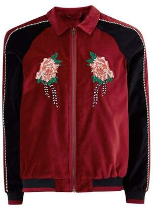 Topman Mens Red Faux Suede Zip Through Jacket With Embroidery
