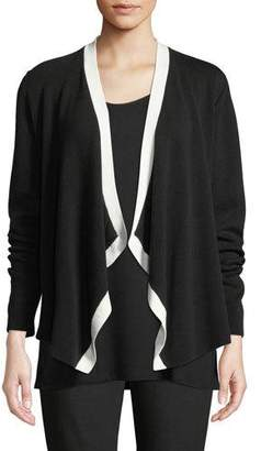 Eileen Fisher Angled-Front Colorblock Cardigan, Plus Size