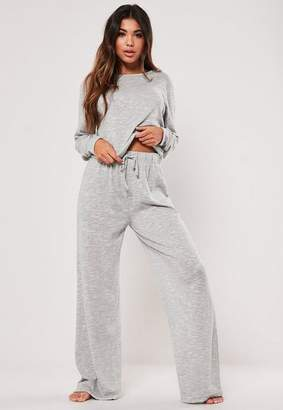 Missguided Gray Crop Top And Wide Leg Bottoms Loungewear Set