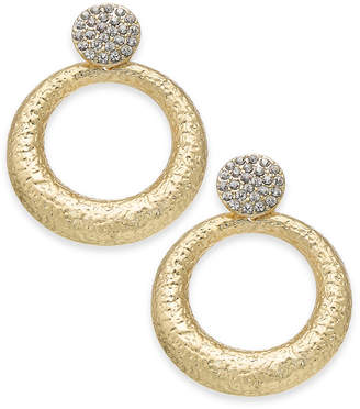 "INC International Concepts I.N.C. Large Gold-Tone Gypsy Crystal Pavé Hoop Earrings, 1.75"", Created for Macy's"