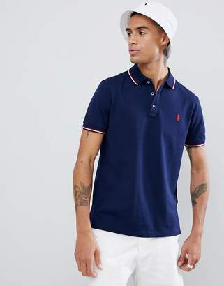 Polo Ralph Lauren Slim Fit Tipped Pique Polo Player Logo In Navy