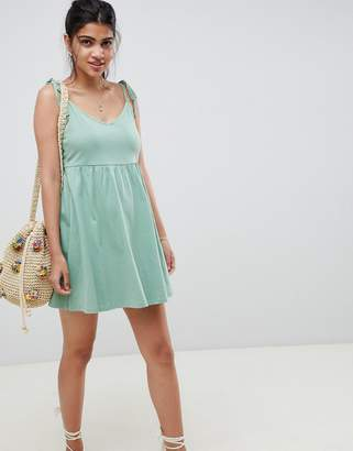 Asos DESIGN mini smock sundress with tie straps
