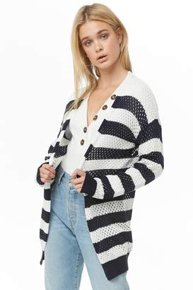 Forever 21 Striped Open-Knit Cardigan