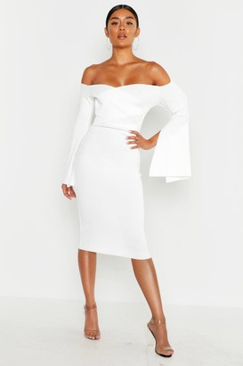 boohoo Bardot Split Sleeve Rib Bodycon Midi Dress